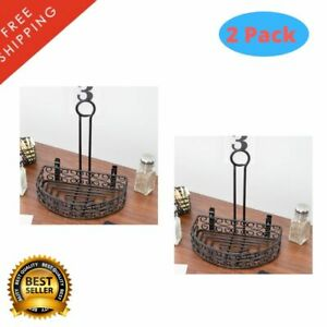 2 Pack Black Metal Half Round Iron Condiment Caddy With Card Holder 8 1 2