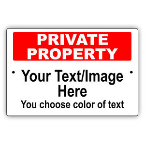 Private Property Personalized Text And Image Novelty Aluminum Metal Sign