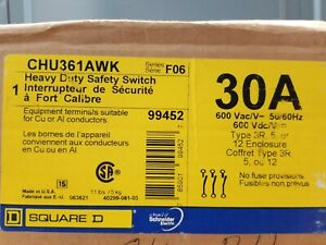 Chu361awk Square D Heavy Duty Safety Switch 30 A 600 V 60 60 Hz Type 3r