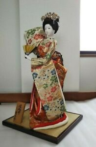 Japanese Geisha Doll Holding Fun In Kimono 17 On Wooden Base Antique From Japan