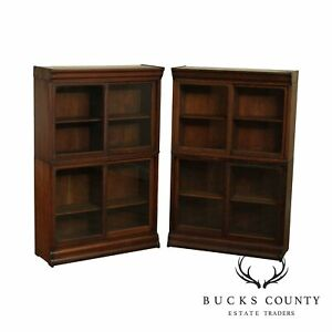 Danner Antique Oak Pair Stacking Sliding Door Bookcases A