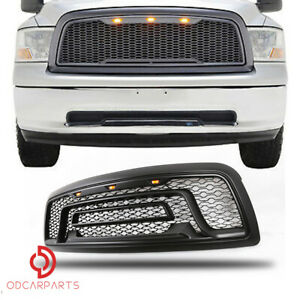 Fits Dodge Ram 1500 09 12 With Lights Letters Grille Grill Rebel Style Black