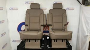 2016 Gmc Yukon Center Second Row Seat Set Bucket Captain Chair Tan Dune Leather