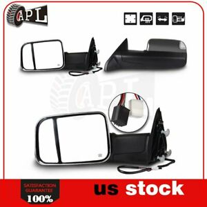 Power Heated Turn Signal Puddle Light Tow Mirror For 2009 2015 Dodge Ram