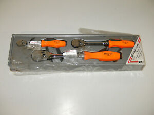 Snap On Tools Rat836o 3 Piece Ratchet Set Orange Hard Handle 1 4 3 8 1 2 Rare