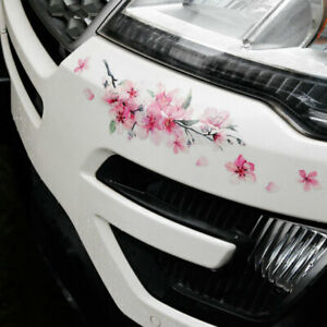 Pink Cherry Blossom Vinyl Car Sticker Auto Flower Decal Windshield Window Bumper