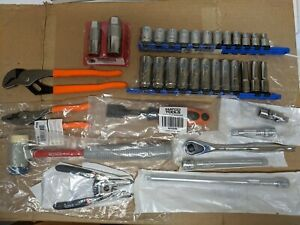 Matco Tool Lot Sockets Ratchet Extensions Pliers Hammer New Never Used