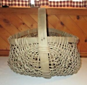 Antique Large Handled Gathering Basket Buttocks Splint Woven Primitive Catch All