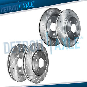 Front Rear Drilled Disc Brake Rotors For 1994 2003 2004 Ford Mustang Base Gt