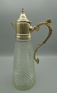 Vintage Waffle Crystal Ornate Silver Plate Lid Lion Handle Wine Decanter Italy