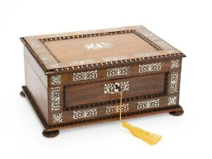 Antique Victorian Rosewood Mother Of Pearl Inlaid Fitted Sewing Box C1860