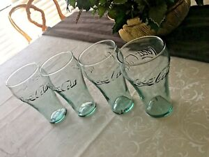 VTG CLEAR GREEN Coca-Cola Glasses  Embossed. 4 WILL DISINFECT PRIOR TO SHIP