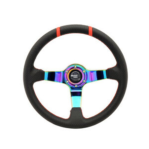 Universal Fit 350mm 6 Hole Steering Wheel 3 Neo Spokes Pvc Leather W Mobile Cf