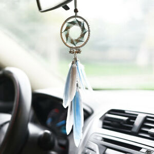 Dream Catcher Car Rearview Mirror Pendant Feather Decor Auto Ornament Hang Charm