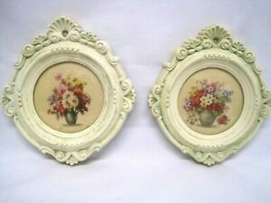 2 Antique Floral Prints In Plaster Frames With Domed Glass