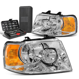 For 2003 2006 Ford Expedition Pair Chrome Amber Turn Signal Headlights Tool Box