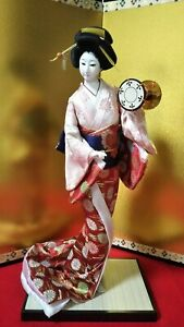 Vintage Japanese Geisha Doll In Kimono 17 On Wooden Base Antique Pink