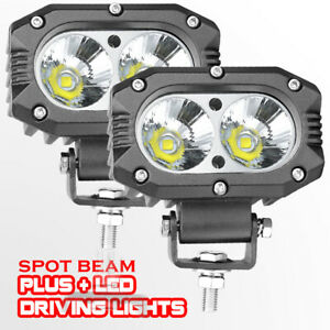 2x 4 Cree Led Driving Spot Loghts 6500k Headlight Lamps Round Square Offroad