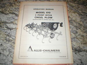 Allis Chalmers 610 Chisel Plows Owners Operators Manual
