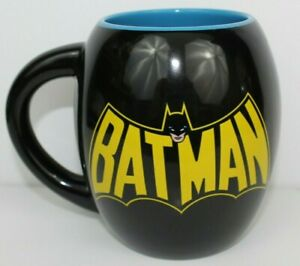 Large Batman Coffee Mug DC Comics Mug Black/Blue Dual Graphic Great Condition