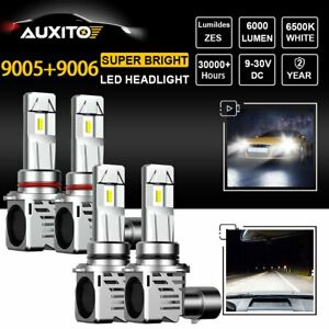 4pcs Auxito 9005 9006 Led Headlight Kit Bulbs Hi Low Beam White Lamp High Power