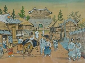 Beautiful Korean Hand Painted Folk Painting Early Days Signed