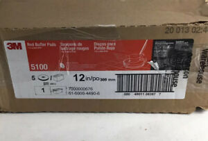 3m Buffer Floor Pad 5100 Red 12 Pack Of 5 Pads New