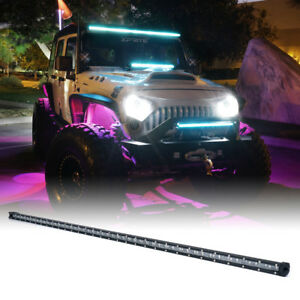 Xprite 240w 50 Single Row Led Work Light Bar Spot Beam With Blue Backlight