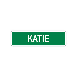 Katie Girls Name Letter Printed Label Wall Art Decor Novelty Aluminum Metal Sign