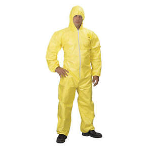 Dupont Tychem r Qc Hooded Chemical Resistant Coveralls Yellow Medium New