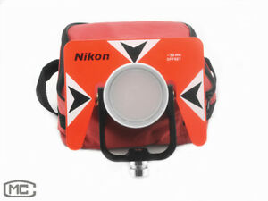 Red Metal Single Prism With Soft Bag For Nikon Total Station Surveying 30 0mm