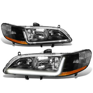 Fit 1998 2002 Honda Accord Pair Black Housing Amber Corner Headlight W led Drl