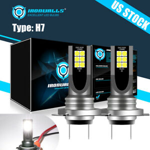 H7 Led Headlight Bulbs Conversion Kit 55w 8000lm 6000k Hi Low Beam Super Bright