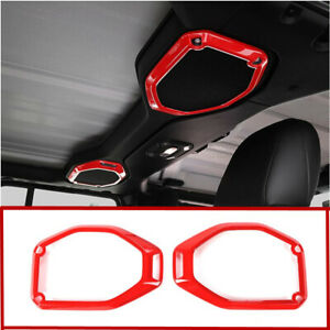 2pcs Car Top Roof Speaker Cover Trim Decor Ring Red For 2020 Jeep Gladiator Jt