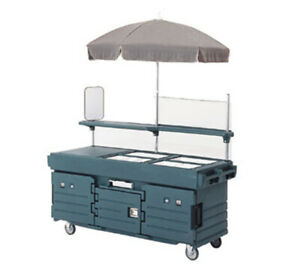 Cambro Kvc854186 4 Pan Well Vending Merchandising Cart W Umbrella Navy Blue