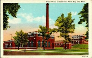 1930#x27;S. BAY CITY MICH. WATER WORKS AND FILTRATION PLANT. POSTCARD CK19 $8.00