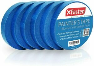 Xfasten Blue Painters Tape Multi use 3 4 Inches X 60 Yards pack Of 6
