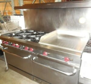 Used Vulcan 5ft Range With 6 Burners 24 Griddle And 2 Std Ovens Nat Gas
