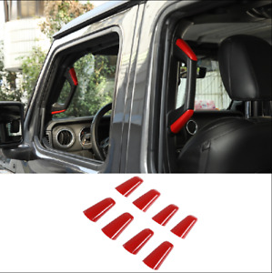Red Look Car A b Pillar Handle Cover Trim Decor 8pcs For 2020 Jeep Gladiator Jt