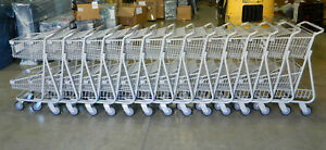 Lot Of 14 Double basket Steel metal Grocery shopping Carts Gray Never Used
