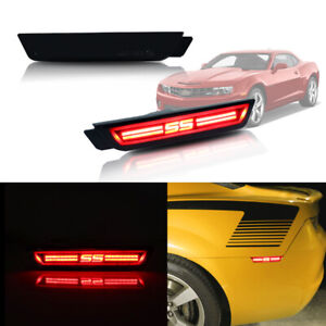 2x For 2010 15 Chevy Camaro Ss Style Red Led Rear Side Marker Lights Smoke Lens