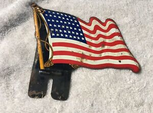 Vintage American Flag License Plate Topper Distressed 48 Star Wwii Era Ww2