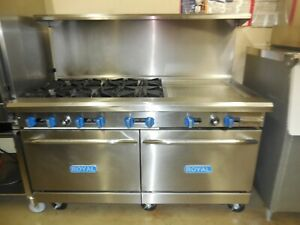 Used Royal 5ft Range With 6 Burners 2 Griddle And 2 Std Ovens Nat Gas