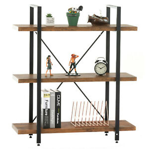 3 Tier Bookcase Shelf Display Storage Tower Rack Vintage Industrial Home Office