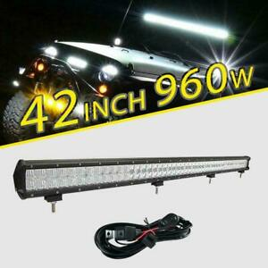 42 Inch 960w Cree Led Straight Work Light Bar Spot Flood Beam For Ford Jeep Suv