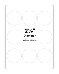 2 5 Inch Round Labels For Laser Inkjet Printers Permanent Adhesive White Matte