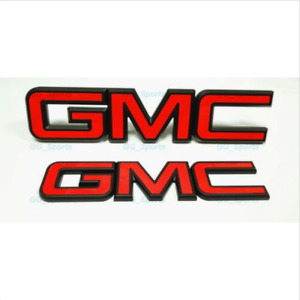 Custom Red Black Front Grille Rear Tailgate Emblems Fit 2015 2019 Gmc Sierra