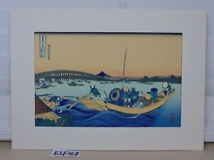 Japanese Hokusai Mt Fuji Wood Block Print Art Sunset Ryogoku Bridge Rare