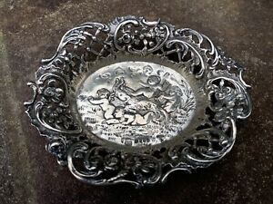 Antique English Sterling Silver Cherubs Pin Nut Trinket Dish Tray