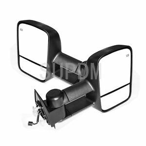 2pcs Left rights Power Heated Glass Telescoping Towing Mirrors W Puddle Lights